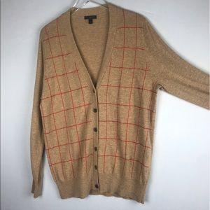 J. Crew Camel Grid Cardigan Sweater XL